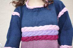 Vintage Pullover - Pullover Zopfmuster gestrickt vintage blau rosa - ein Designerstück von trixies-zauberhafte-Welten bei DaWanda