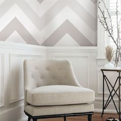 Chevron Grey Peel & Stick Fabric Wallpaper Repositionable - Simple Shapes Wall Decals, Furniture, and Accessories Wainscoting Bedroom, Dining Room Wainscoting, Wainscoting Panels, Black Wainscoting, Painted Wainscoting, Wainscoting Ideas, Chevron Wallpaper, Grey Wallpaper, Fabric Wallpaper