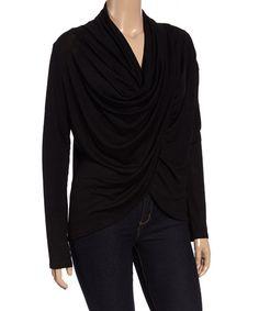 Loving this Black Drape Top - Plus on #zulily! #zulilyfinds