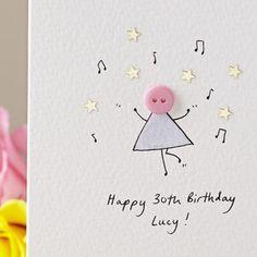 Personalised 'Dancing Button' Handmade Birthday Card