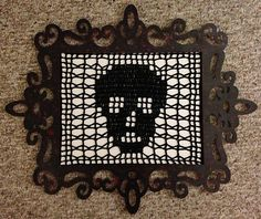 This pattern is versatile. You can use it as a wall hanging, doily, altar cloth, day of the dead or Halloween decor, curtain or afghan square if you don't work the edging. Use either yarn and an H5/00mm hook or #10 thread and a #7 hook for a doily.