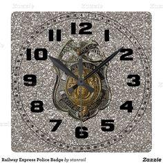 Railway Express Police Badge Square Wall Clocks; www.railphotoexpress.biz