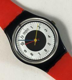 "1984 ""Chrono-Tech"" Vintage Ladies Swatch Watch LB104 / Red Black / RARE"
