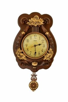 Features:  -Moving pendulum.  -Silent movement.  -Runs on 2 AA battery (not included).  Product Type: -Analog.  Finish: -Brown and gold.  Shape: -Novelty.  Style: -Office/Business.  Primary Material: