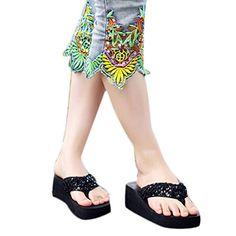 d016f8e14ea9 HP95TM Summer Women Sequins Sandal Platform Wedges Beach Flip Flops Slippers  Black 37    Check
