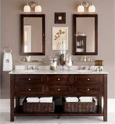 Double sink vanity. Don't love the colors, but good idea for mirrors and lights for sinks that are close together
