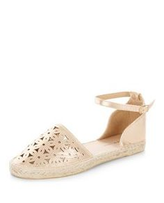 Wide Fit Bronze Laser Cut Out Ankle Strap Espadrilles  | New Look
