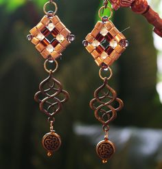 Earthtone Gold and Bronze Dangle Earrings by BeverlyJaneCreations on Etsy