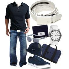 Alpine White Belt - Navy Blue & White