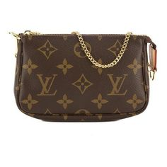 Pre-Owned Louis Vuitton Monogram Mini Pochette Accessoires Bag ($309) ❤ liked on Polyvore featuring bags, handbags, brown, zipper tote, tote purses, louis vuitton tote, brown tote bags and monogram tote