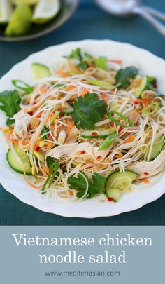 4 A fresh and flavorful Vietnamese salad with rice noodles, shredded chicken, crisp vegetables and crunchy peanuts. Chicken Vermicelli, Chicken Rice Noodles, Vermicelli Recipes, Chicken Noodle Salad Recipe, Noodle Salads, Salad Chicken, Vietnamese Chicken Salad, Vietnamese Vermicelli Salad, Salads
