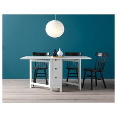 Bright and white, this Norden Gateleg Table will blend in nicely with any existing kitchen furniture. Norden Gateleg Table, Table Extensible, Hickory House, Ikea Canada, Painted Drawers, Home Budget, Under The Table, Table Sizes, Ikea Kitchen