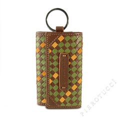 Great gift for Dad €64 in genuine Italian leather   Toscanella 7 Ring Key Holder with pocket in a brown basket weave