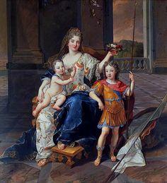 1712 La Duchesse de La Ferté with the Duc de Bretagne and the Duc d'Anjou