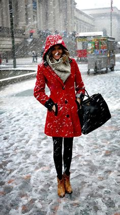 red coat with hood, black leggings and brown ankle boots (The Londoner: New York)