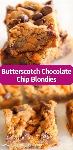 Thе реrfесt blоndіе іѕ hеrе fоr уоur fаmіlу оr a раrtу! Thеѕе сhеwу and dеlісіоuѕ Buttеrѕсоtсh Chосоlаtе Chір Blоndіеѕ аrе … Recipes With Butterscotch Chips, Butterscotch Blondie Recipe, Desserts With Chocolate Chips, Chocolate Chip Blondies, Chocolate Chip Recipes, Brownie Recipes, Cookie Recipes, Dessert Recipes, Butterscotch Brownies