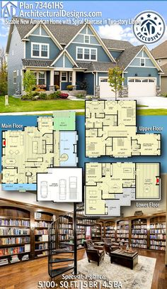 ***** Architectural Designs Exclusive New American Home Plan gives you 5 bedrooms, baths and sq. Sims House Plans, Family House Plans, New House Plans, Dream House Plans, House Floor Plans, My Dream Home, Dream Houses, The Plan, How To Plan