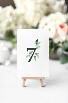 Wedding Table Numbers – Printable Table Numbers – Elegant Eucalyptus – Greenery Wedding Decor – * P L E. Wedding Table Decorations, Wedding Table Numbers, Table Wedding, Wedding Stationery, Wedding Invitations, Printable Numbers, Diy On A Budget, Diy Wedding, Place Card Holders