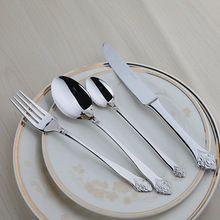 Quality 24 Pcs Cutlery Set European Classic Dinnerware Set Food Grade Stainless Steel Vintage Silver Flower Metal Flatware