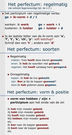 The perfectum, the present perfect, the v. Dutch Phrases, Dutch Words, English Phrases, Learn Dutch, Learn German, Learn English, Spelling For Kids, Dutch Netherlands, Dutch Language