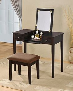 Bedroom Vanity Set with Mirror Brown Cushion Stool Espresso Finish furniture #Unbranded #Contemporary