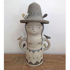 """Off white and grey ceramic totem sculpture, measures 9.5"""" x  6"""" x 4.5"""" One of a kind and handmade in Los Angeles."""
