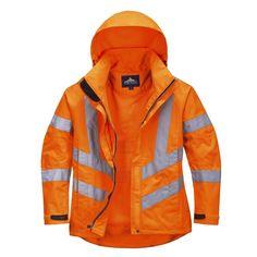 Chaqueta transpirable de alta visibilidad de mujer Naranja.