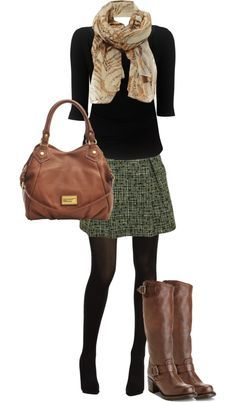Classy/elegant autumn/winter. Long sleeved black t-shirt, plaid a-line skirt, tights, boots and scarf.