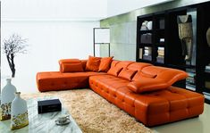 bright orange leather sectional sofa