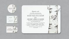 birch tree and carved heart wedding invitation