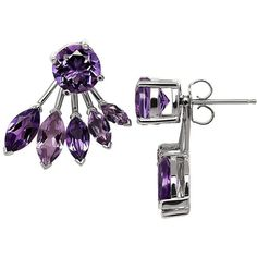 Lord & Taylor Amethyst and Sterling Silver Ear Jacket and Stud... (465 PLN) ❤ liked on Polyvore featuring jewelry, earrings, purple, purple amethyst earrings, sparkle jewelry, stud earrings, stud earring set and sterling silver earrings