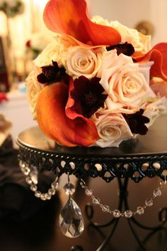 fall bouquet - orange, white, & plum  This is nice for wedding cake topper