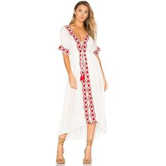Raga Isadora Dress ($120) ❤ liked on Polyvore featuring dresses, tassel dress, drawstring waist dress, white asymmetrical hem dress, white rayon dress and tassle dress