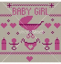 Back Baby girl knitted background vector by Depiano on VectorStock®