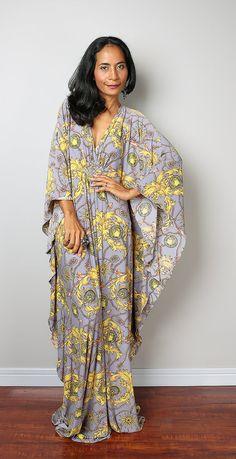 Boho Maxi Dress  Kaftan Kimono Butterfly Dress: Funky by Nuichan