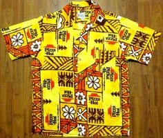EVELYN MARGOLIS PIZZA HUT EMPLOYEE Stained Glass Chandelier, Pizza Chains, Tribal Shirt, Red Roof, Aloha Shirt, Vintage Hawaiian, Pizza Hut, Quilt Patterns, Textiles
