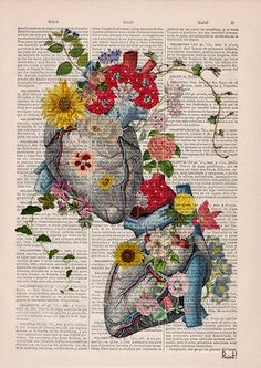 Welcome to Prrint! We are glad to offer you our 15% off spring discount. Please use ETSY coupon code SPRINGTIME17 This is a limited offer. Enjoy!  Flowery Heart, love Anatomy Print on a sheet from a vintage encyclopedic dictionary book.   The page is about 8.1x12(20.8x30.5cm).  Your book print will