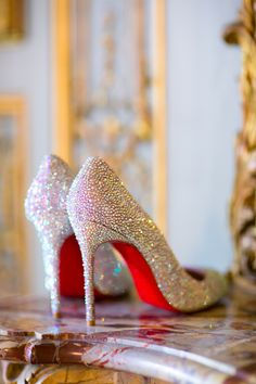 Beaded Louboutin Bridal Pumps ~ if the bottoms were blue, I would be even more in love.