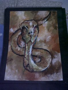 "finger painting, acrylic on paper, ""snake"""