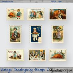 Vintage Thanksgiving Stamps 2, cu, commercial, scrap, scrapbooking, graphics