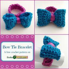 Free crochet pattern: Bow Tie Bracelet by StitchesNScraps ☂ᙓᖇᗴᔕᗩ ᖇᙓᔕ☂ᙓᘐᘎᓮ http://www.pinterest.com/teretegui