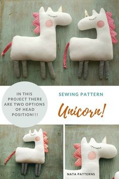 PDF unicorn pattern Unicorn gift Easy unicorn sewing Unicorn birthday PDF Beginner sewing pattern Stuffed Animal Pattern Unicorn party Horse A nice unicorn toy is an ideal project for beginners and for children's craft! Soft and cosy unicorn can be Beginner Sewing Patterns, Sewing Projects For Beginners, Free Sewing, Pattern Sewing, Crochet Patterns, Animal Sewing Patterns, Kids Patterns, Bag Patterns, Crochet Ideas