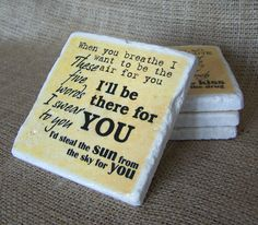 Set of Four (4) Tumbled Marble Stone Coasters - @Bon Jovi - Rock - Music Lyrics - Song - Rustic Style Coasters. $22.00, via Etsy.