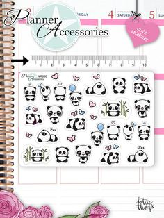 Kawaii Panda Stickers Cute Panda Stickers von EmelysPlannerShop