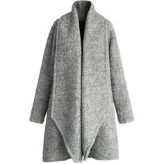 Chicwish Simple Grey Flared Woolen Coat