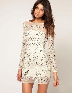 ASOS | ASOS Jewelled Applique Lace & Mesh Dress at ASOS