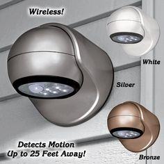 Silver Wireless Sensor Light from Fresh Finds on Catalog Spree, my personal digital mall. Backyard Lighting, Porch Lighting, Outdoor Lighting, Led Porch Light, Travel Trailer Living, Ranch Remodel, Rental Decorating, Rv Living, Living Room