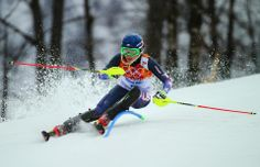 DAY 15:  Mikaela Shiffrin of the USA competes  during the Alpine Skiing Women's Slalom http://sports.yahoo.com/olympics