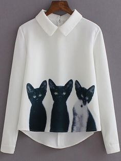 White Cats Print Pointed Flat Collar Long Sleeve Blouse