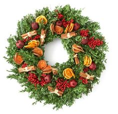 "26"" Fruit & Spice Boxwood Wreath, Dried - For the Mantel - Unfiled - Sales Events 
